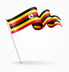 Ugandan pin wavy flag vector