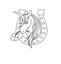 Unicorn icon character 08 vector
