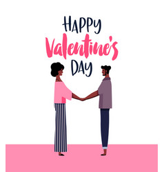 valentines day card of afro man and woman in love vector image