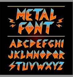 Vintage 80s heavy metal font collection set vector