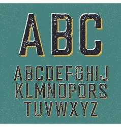 Vintage retro typeface Stamped alphabet with vector image