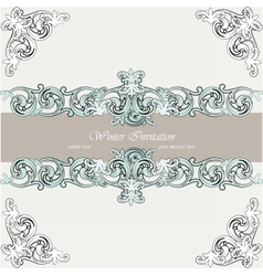 Vintage winter invitation card vector image