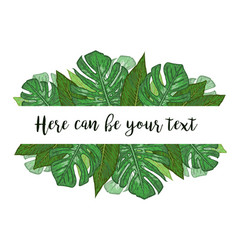 Watercolor a banner with monstera and vector