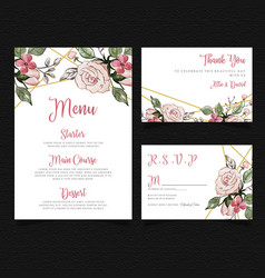 Watercolor floral card collection vector
