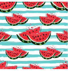 Watermelon seamless pattern hand-drawn juicy vector