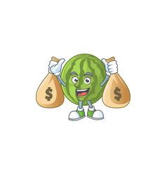 With money bag cartoon watermelon isolated on vector