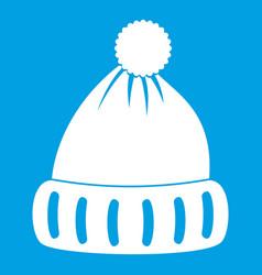 Woolen hat icon white vector