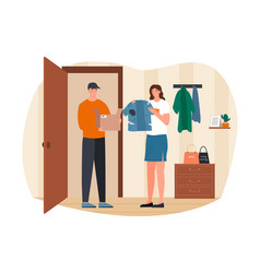 Young female character received a parcel vector