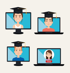 young students with electronic learning vector image