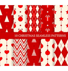 10 Christmas different seamless patterns vector image