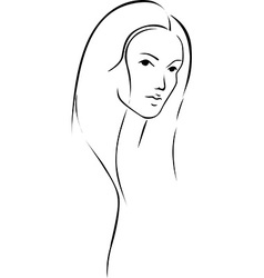 Beautiful young woman with long hair - black line vector image vector image