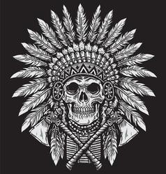 Bold Native American Skull Chief vector image