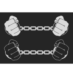 Hands in strained steel handcuffs Dark vector image