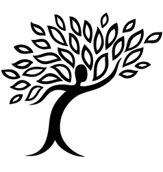 Icon human and leaf tattoo isolated vector image vector image