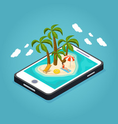 isometric beach vacation mobile concept vector image vector image