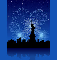 new york city with fireworks vector image vector image