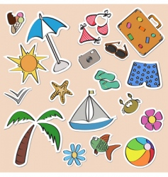summer stickers set vector image vector image