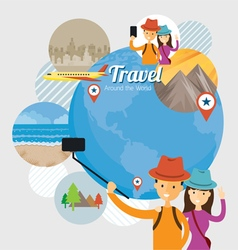 Tourist Traveler Selfie with Smartphone Travel vector image vector image