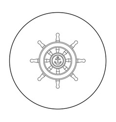 wooden ship steering wheel icon in outline style vector image