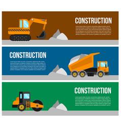 Construction machine web banner concept vector