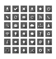 Grey square long shadow style icons vector image vector image