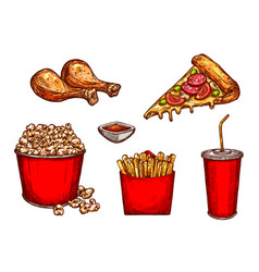 sketch icons fast food snacks and drinks vector image vector image
