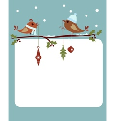 template of christmas card with birds vector image vector image
