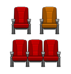 Cinema red chairs set vector
