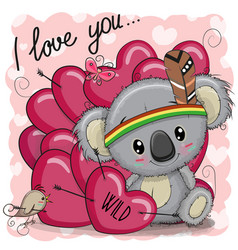 cute cartoon tribal koala with hearts vector image