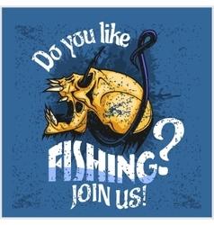 Fisherman - skull and hook Do you like fishing vector image