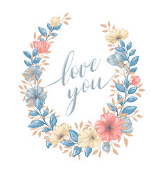 Floral love wreath vector