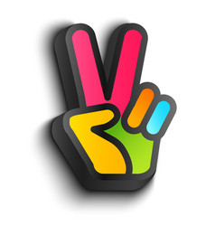 hand and peace symbols vector image vector image