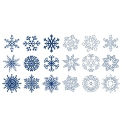 Huge set of blue snowflakes vector image vector image