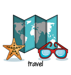 Map glasses and starfish stickes vector
