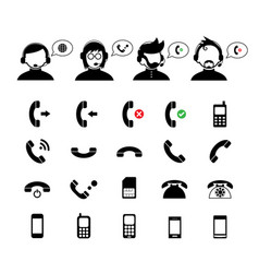 operator customer support and basic phone set vector image