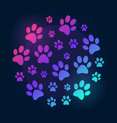 paw prints round bright and colored vector image vector image