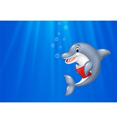 Cartoon dolphin reading book with deep sea vector image