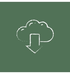 Cloud with arrow down icon drawn in chalk vector image