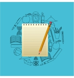 notebook and pencil school design vector image