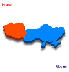 3d isometric map poland and ukraine relations vector