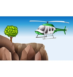 A helicopter near the cliff vector