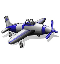 A vintage grey and blue coloured plane vector image