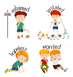Adjective words with kid expressing their feelings vector