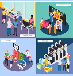 Advertising agency isometric concept vector