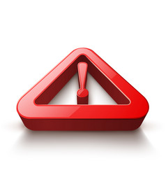 Attention 3d icon on white background vector