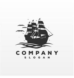 awesome ship logo design vector image