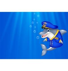 Cartoon dolphin wearing captain uniform swimming i vector