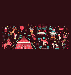 Collection of circus tent and funny show vector