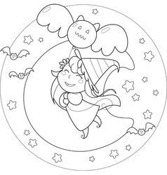 Coloring Halloween flying witch with balloon vector image