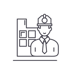 construction engineer line icon concept vector image